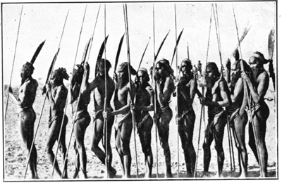 Group of Warriors from the tribes west of Hermannsburg, Central Australia