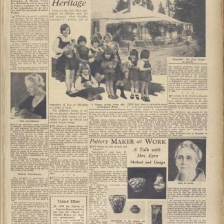 An image of a magazine article published in nineteen thirtythree. The article is titled: Where Children Receive Their Natural Heritage. The article has a photograph of a group of young children holding stuffed toys.